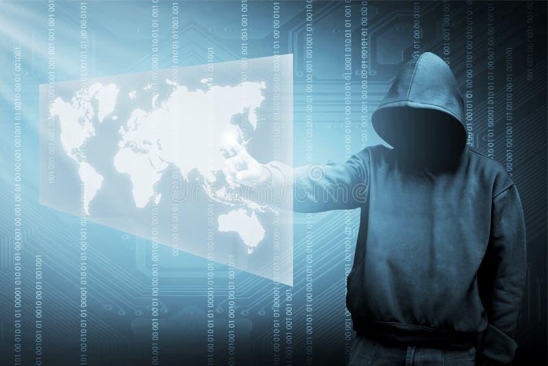 Het silhouet van de computerhakker van de mens met een kap stock afbeeldingen