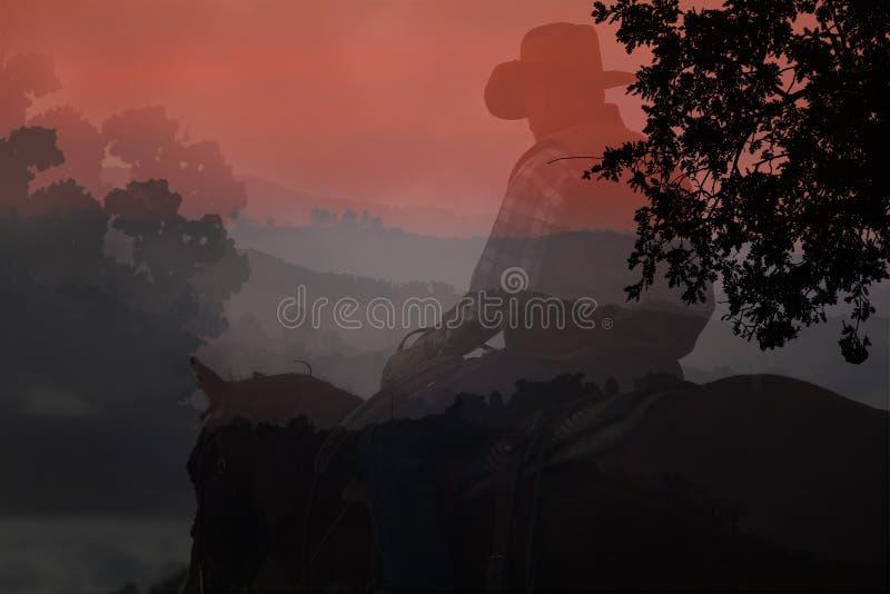 Het silhouet van de cowboy. stock fotografie