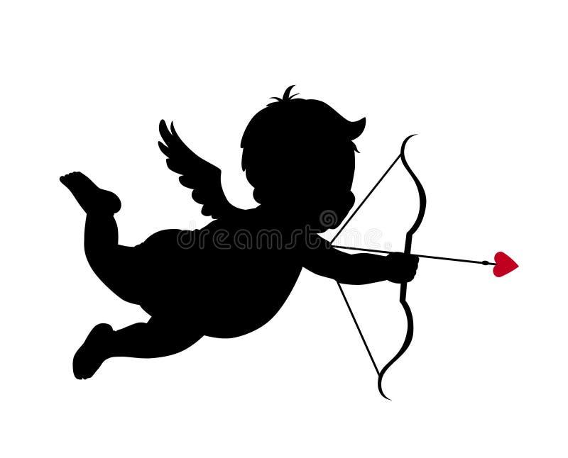 Het silhouet van de Cupido stock illustratie