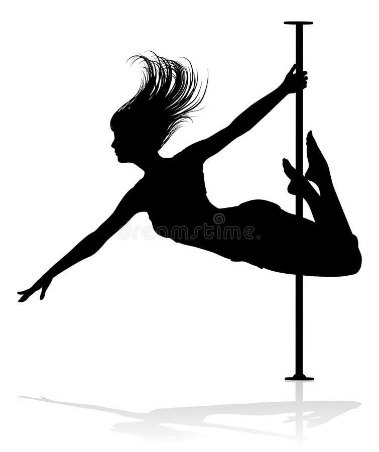 Het silhouet van de de dansersvrouw van Pool royalty-vrije illustratie