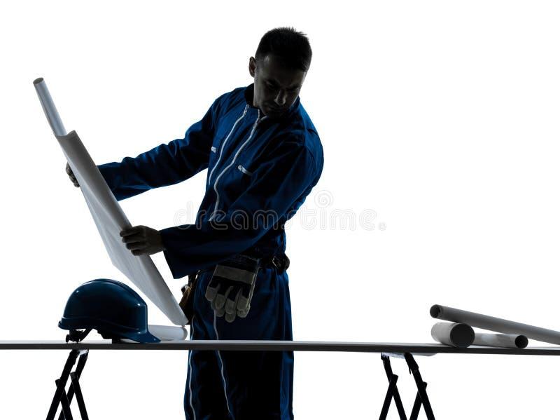Het silhouet van de de bouwArchitect van de mens stock foto's