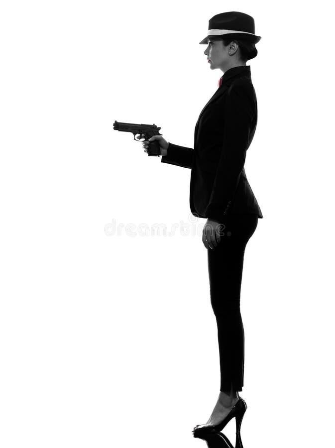 Het silhouet van de de gangstermoordenaar van het vrouwenkanon royalty-vrije stock afbeelding