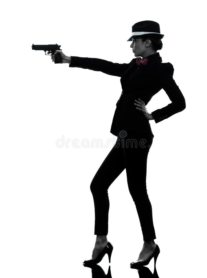Het silhouet van de de gangstermoordenaar van het vrouwenkanon stock afbeelding