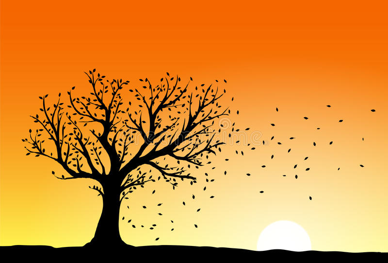 Het silhouet van de de herfstboom royalty-vrije illustratie