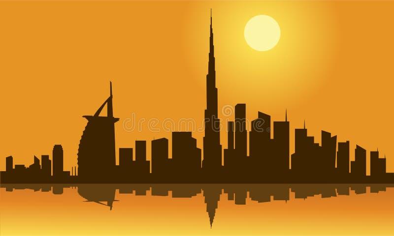 Het Silhouet van de de Stadshorizon van Doubai royalty-vrije illustratie