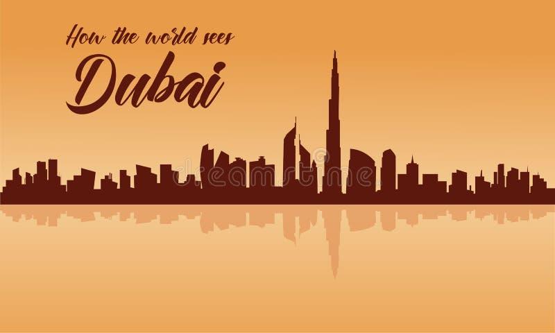Het silhouet van de de stadshorizon van Doubai met bruine achtergronden vector illustratie
