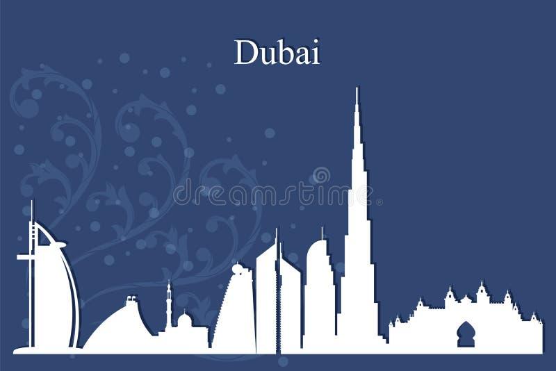 Het silhouet van de de stadshorizon van Doubai op blauwe achtergrond royalty-vrije illustratie