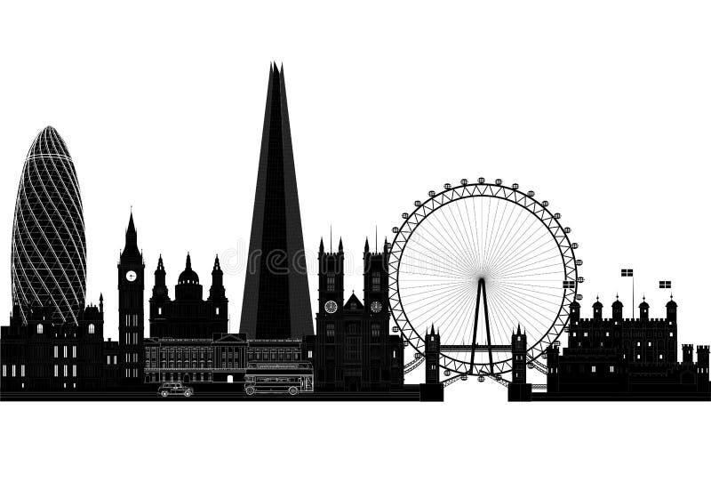 Het silhouet van de de stadshorizon van Londen, vectorillustratie Geïsoleerde stock illustratie