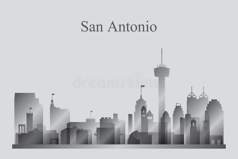 Het silhouet van de de stadshorizon van San Antonio in grayscale vector illustratie