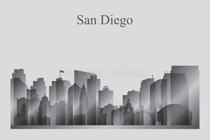 Het silhouet van de de stadshorizon van San Diego in grayscale vector illustratie