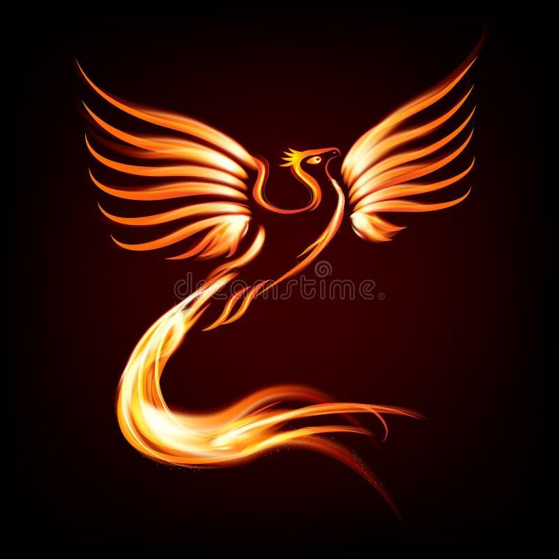Het silhouet van de de vogelbrand van Phoenix stock illustratie