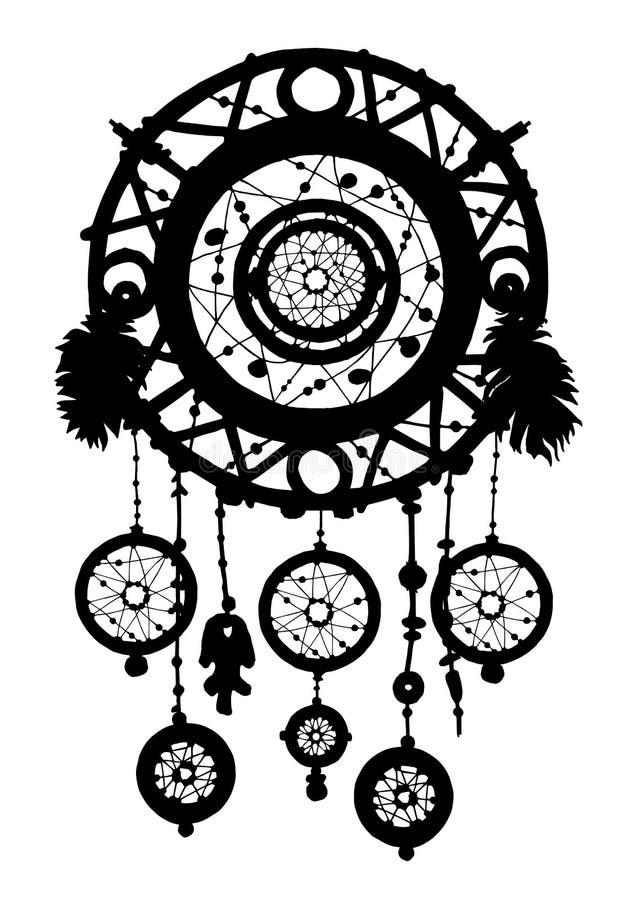 Het silhouet van de droomvanger met veren en parels royalty-vrije illustratie