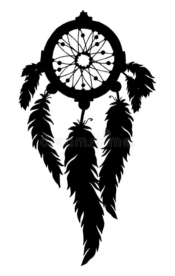Het silhouet van de droomvanger met veren en parels vector illustratie