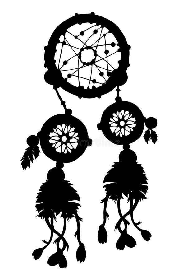 Het silhouet van de droomvanger met veren en parels stock illustratie