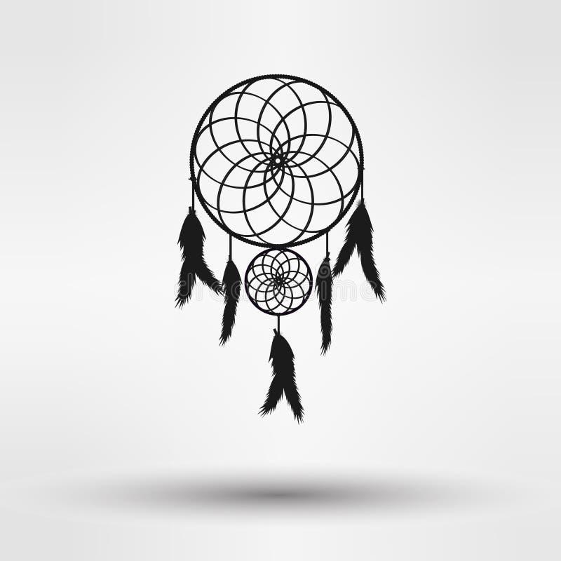 Het silhouet van de droomvanger in zwarte die kleur op witte achtergrond wordt geïsoleerd Illustratie vector illustratie