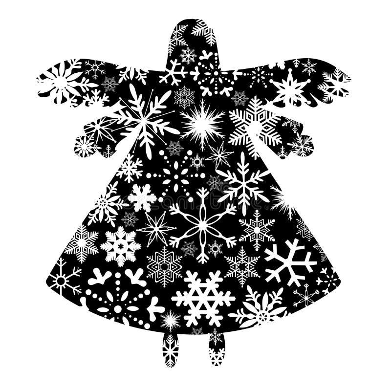Het Silhouet van de Engel van Kerstmis met het Ontwerp van Sneeuwvlokken vector illustratie