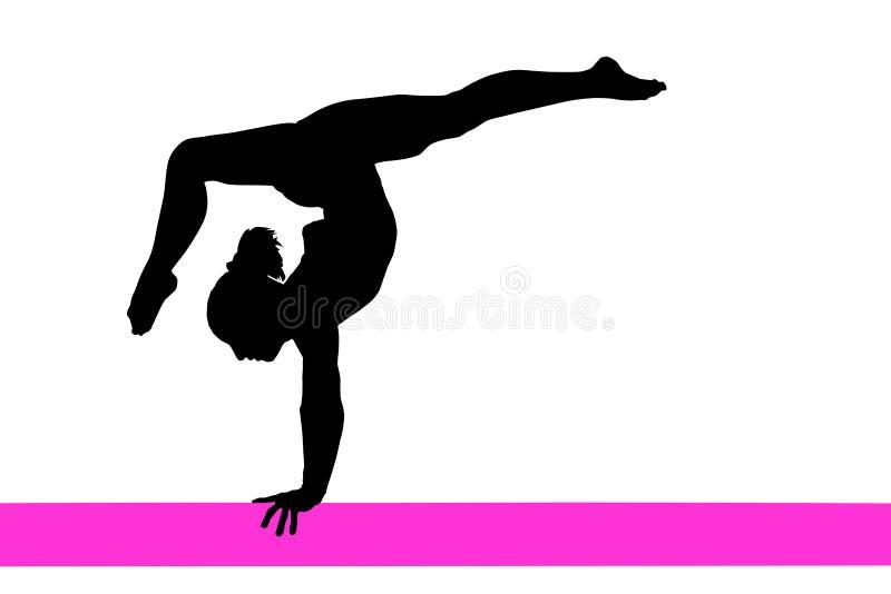 Het silhouet van de gymnastiekvrouw vector illustratie