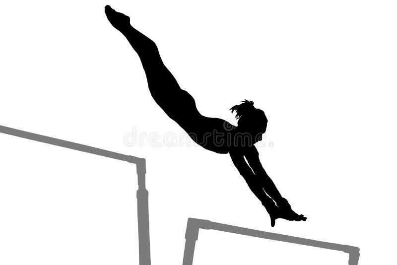 Het silhouet van de gymnastiekvrouw stock illustratie