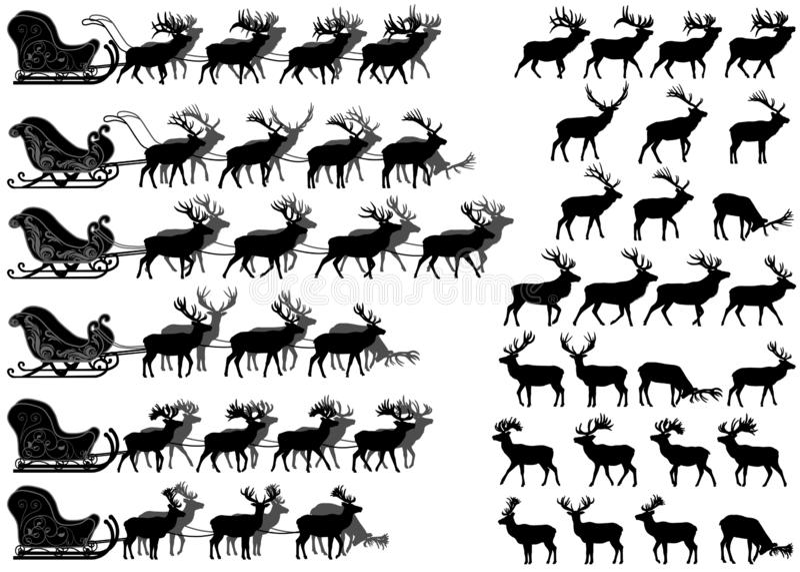 Het silhouet van de hertenslee vector illustratie