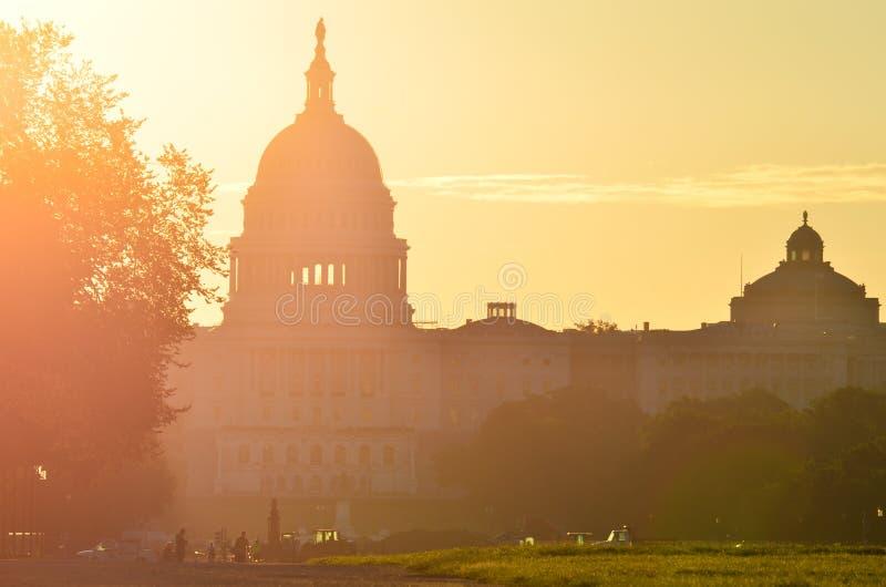 Het silhouet van de het Capitoolkoepel van de V.S., Washington DC royalty-vrije stock afbeelding