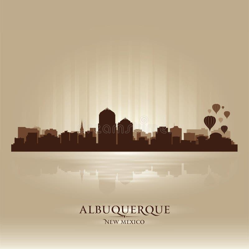 Het silhouet van de de horizonstad van Albuquerque, New Mexico stock illustratie