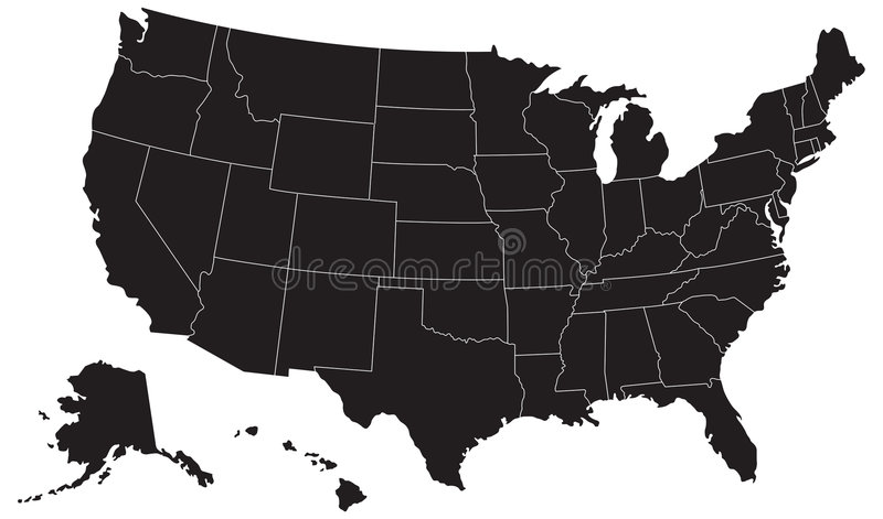 Het Silhouet van de Kaart van Verenigde Staten royalty-vrije illustratie