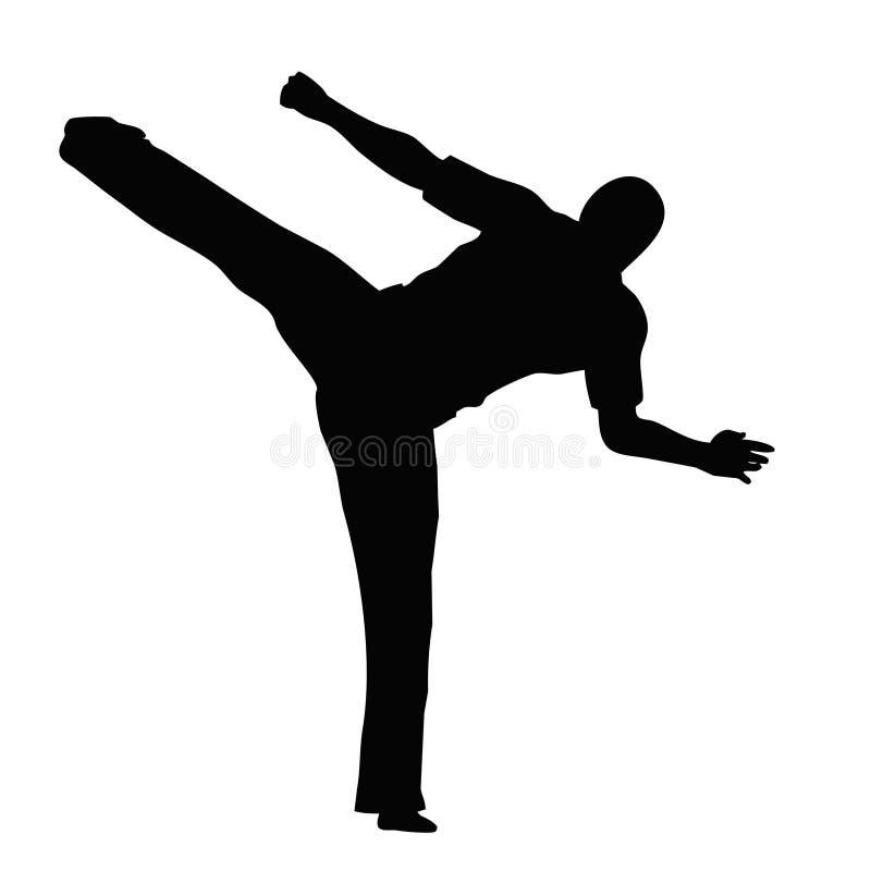 Het silhouet van de karate royalty-vrije illustratie