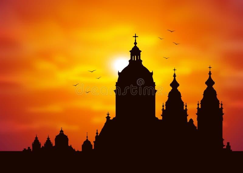 Het silhouet van de kerk vector illustratie