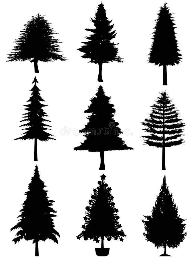 Het silhouet van de kerstboom stock illustratie