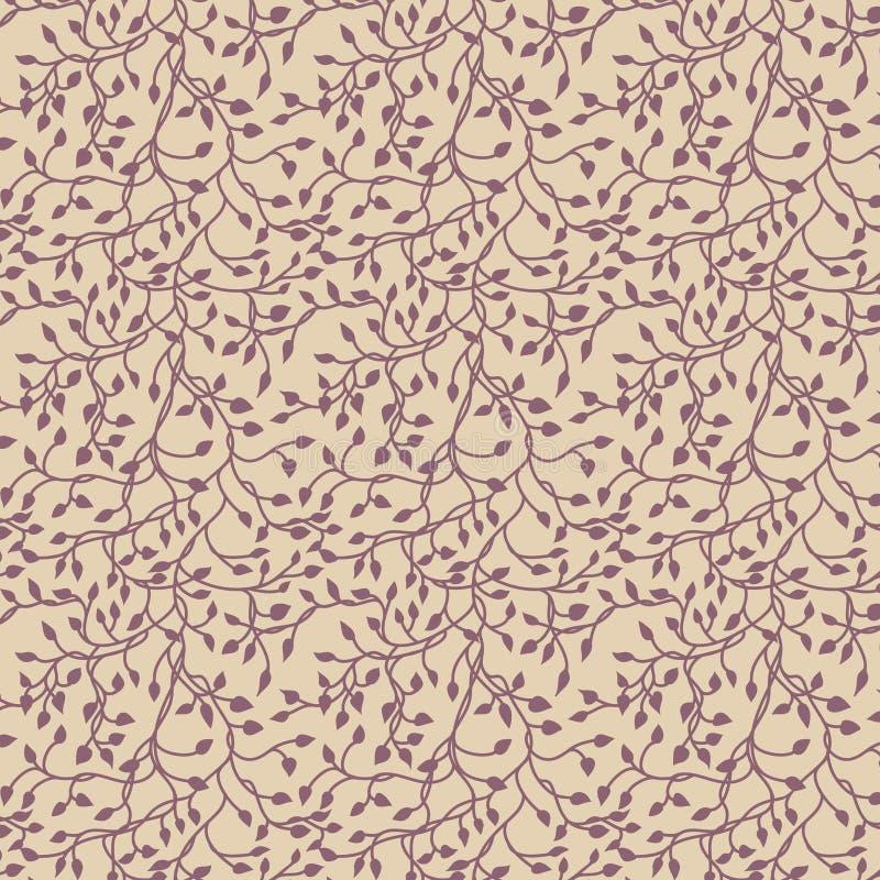 Het silhouet van de klimopwijnstok, het elegante purpere bloemen decoratieve element van het behangontwerp van bladeren, het mooi stock illustratie