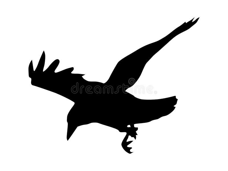 Het silhouet van de kraai royalty-vrije illustratie