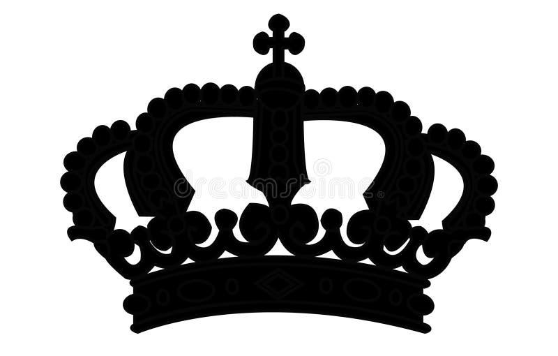 Het silhouet van de kroon op wit stock foto's