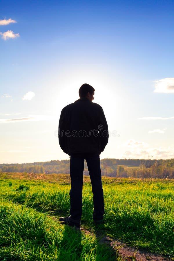 Het silhouet van de mens stock foto's