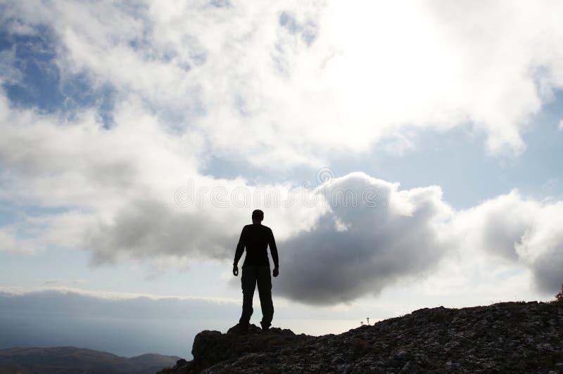 Het silhouet van de mens stock fotografie
