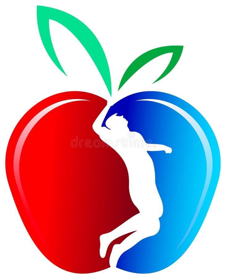 Het silhouet van de mens in een appel stock illustratie
