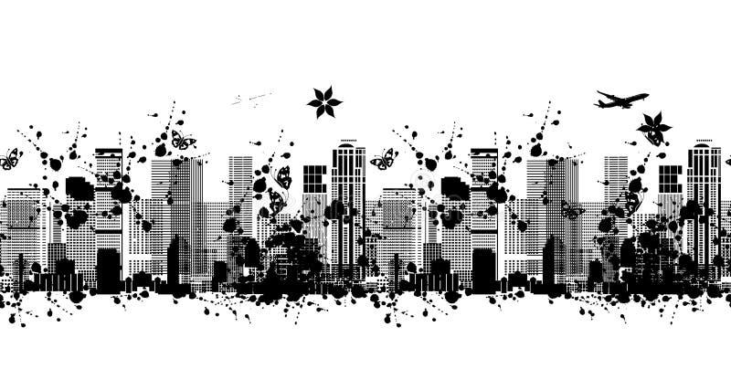 Het silhouet van de metropool, naadloos patroon voor uw ontwerp stock illustratie