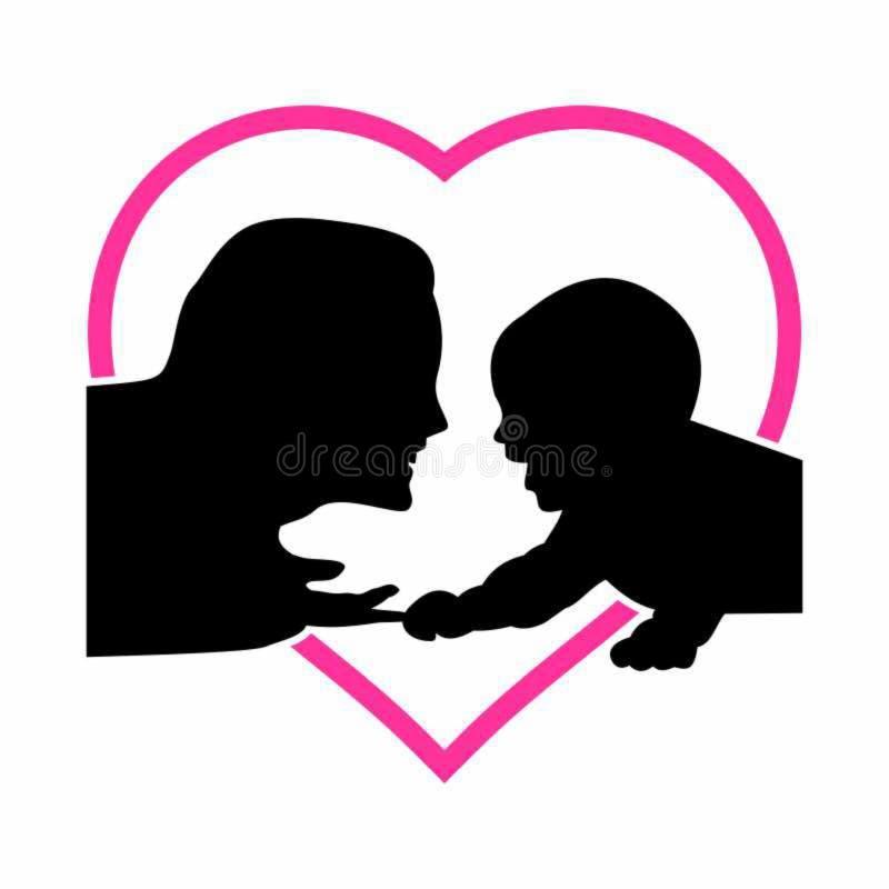 Het silhouet van de moeder en van de baby vector illustratie
