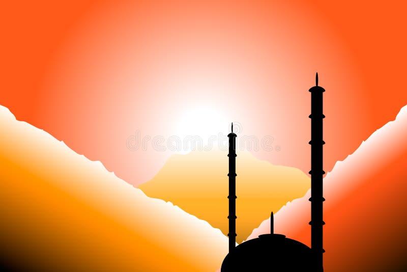 Het silhouet van de moskee bij zonsondergang royalty-vrije illustratie