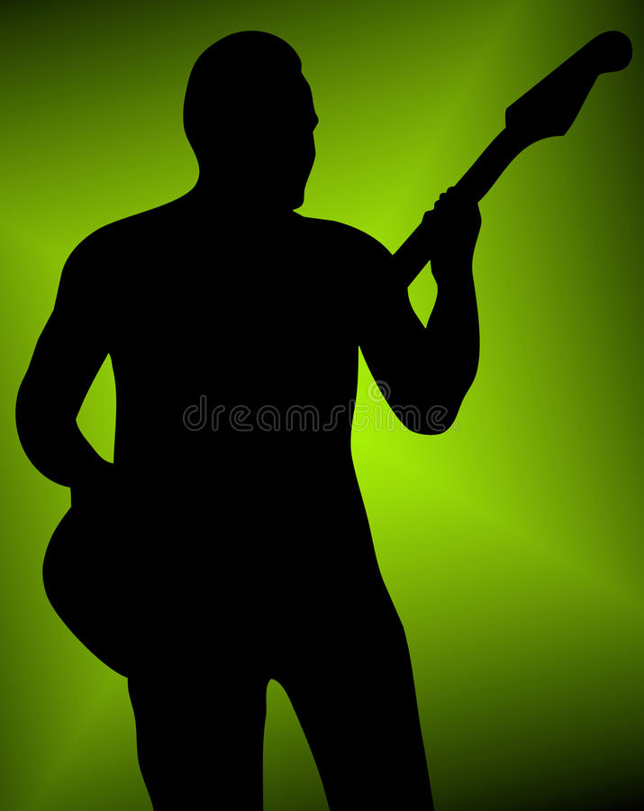 Het silhouet van de musicus stock illustratie