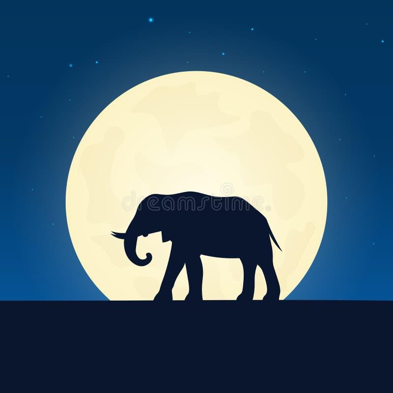 Het silhouet van de olifant Banner met maan op de nachtachtergrond Vector illustratie stock illustratie