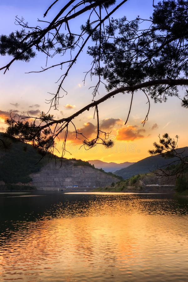 Het silhouet van de pijnboomboom, dramatische wolken en hemel en briljante zonsondergang over weerspiegelend, zijdeachtig waterme royalty-vrije stock afbeeldingen