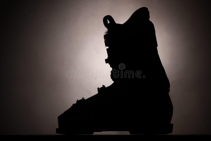 Het silhouet van de skilaars stock foto's