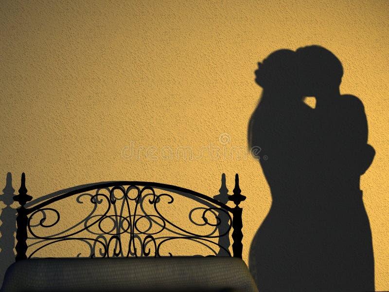 Het Silhouet van de Slaapkamer van het paar stock illustratie