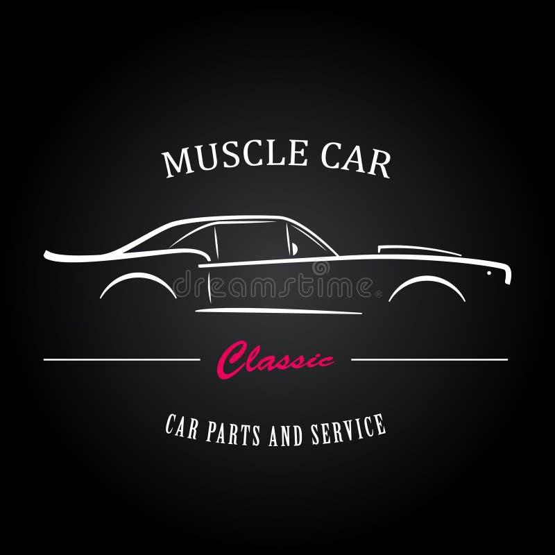 Het silhouet van de spierauto Amerikaanse klassieke sportwagenoverzichten royalty-vrije illustratie