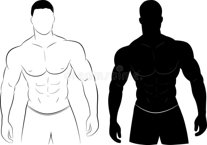 Het silhouet van de spiermens stock illustratie