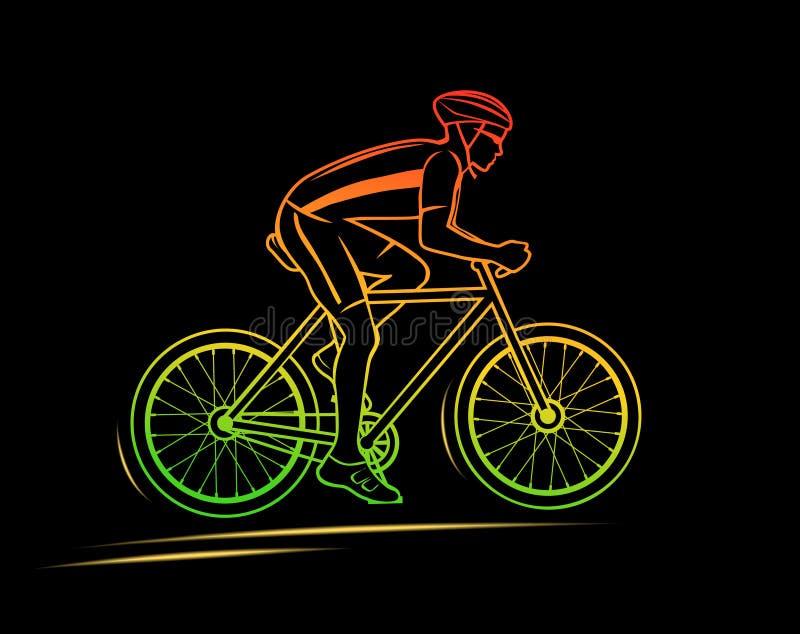 Het Silhouet van de sportfietser royalty-vrije illustratie
