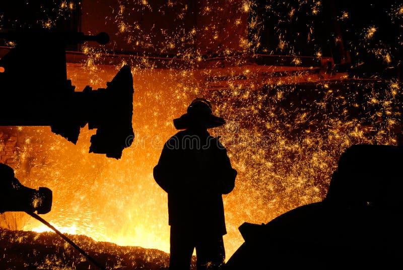 Het silhouet van de staalarbeider royalty-vrije stock fotografie