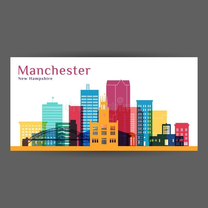 Het silhouet van de de stadsarchitectuur van Manchester stock illustratie