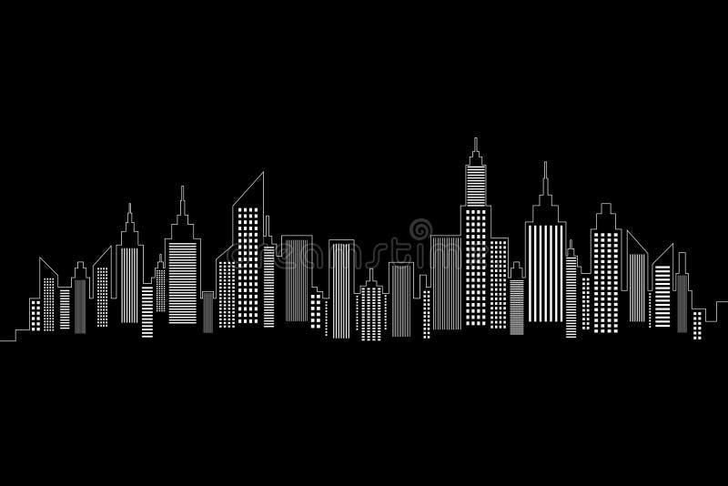 Het Silhouet van de stadshorizon stock illustratie
