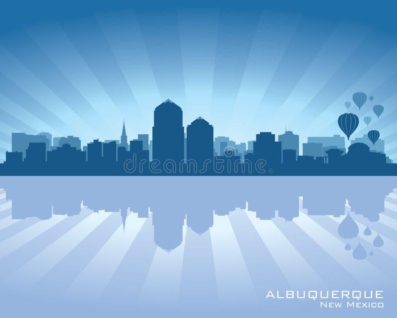 Het silhouet van de de stadshorizon van Albuquerque, New Mexico vector illustratie